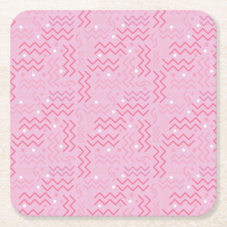 Funky Pastel Pink Memphis Design Square Paper Coaster