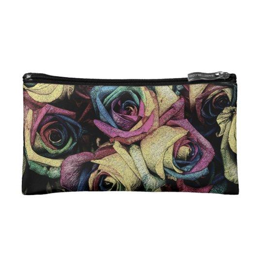 Funky Pastel Roses Cosmetic Bag