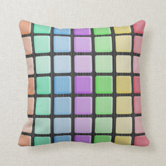 Funky Pastel Square Abstract Pillow
