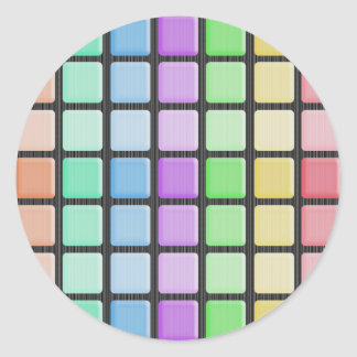 Funky Pastel Square Abstract Round Sticker