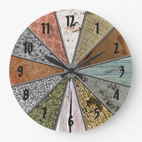 Funky Patterns Colourful Grunge Textures Wall Large Clock