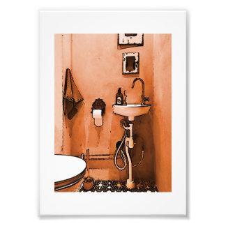 Funky Peachy Bathroom Photo Print
