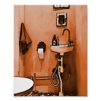 Funky Peachy Bathroom Poster
