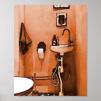 Funky Peachy Bathroom Poster