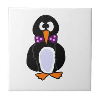 Funky Penguin Wearing Purple Bow Tie Cartoon Tile