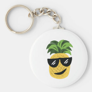 Funky Pineapple Basic Round Button Key Ring