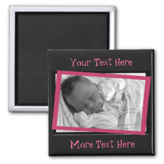 Funky Pink and Black Frame Magnet