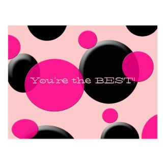Funky Pink and Black Polka Dot Postcard