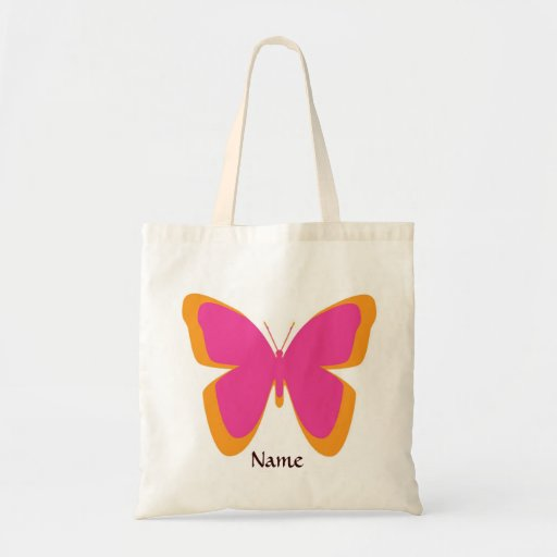 Funky Pink and Orange Butterfly Tote Bag