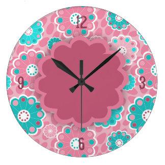 Funky pink aqua floral abstract clock