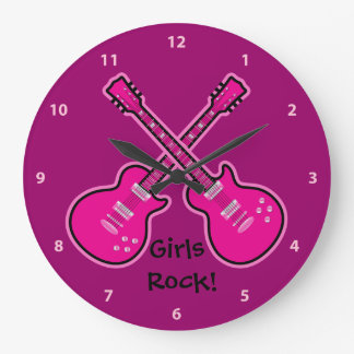 Funky Pink & Black Guitars Girls Rock Clock