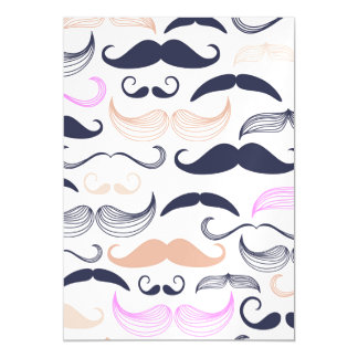 Funky Pink & Black Mustache Design Magnetic Invitations