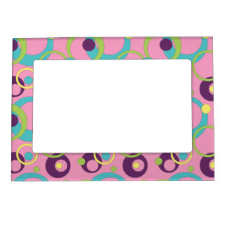 Funky Pink Circles Magnetic Frame