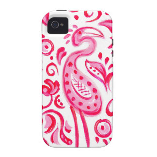 Funky Pink Flamigo Paisley Pattern iPhone 4/4S Cover