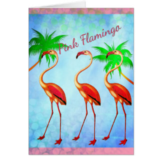 Funky Pink Flamingos Happy Birthday Card