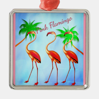 Funky Pink Flamingos Palm Trees Blue Sky Christmas Ornament