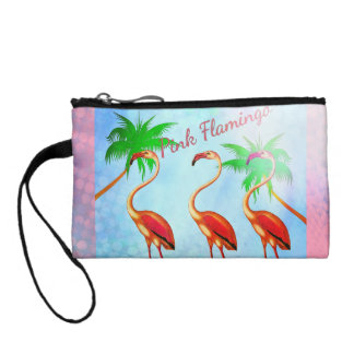Funky Pink Flamingos Palm Trees Blue Sky Coin Purse