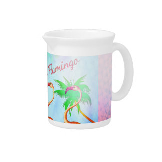 Funky Pink Flamingos Palm Trees Blue Sky Pitcher