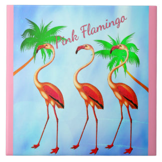 Funky Pink Flamingos Palm Trees Blue Sky Tile