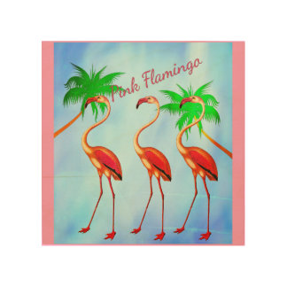 Funky Pink Flamingos Palm Trees Blue Sky Wood Wall Decor