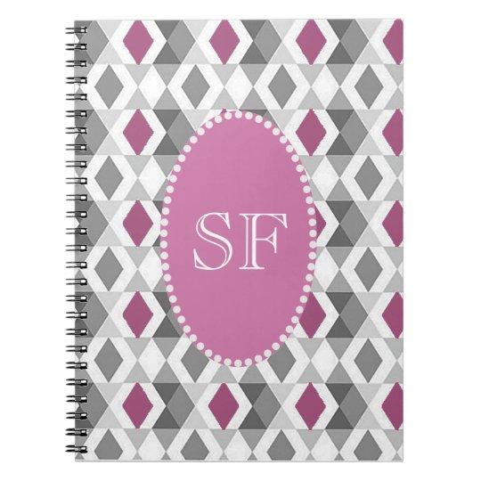 Funky Pink/Grey Diamond Monogram Spiral Notebook