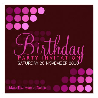 Funky Pink Party Birthday Invitation