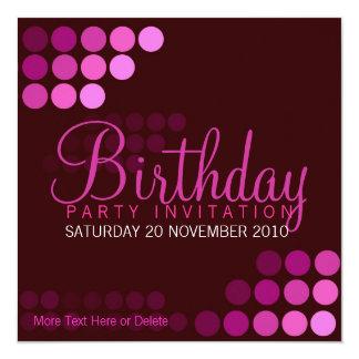 Funky Pink Party Birthday Invitation