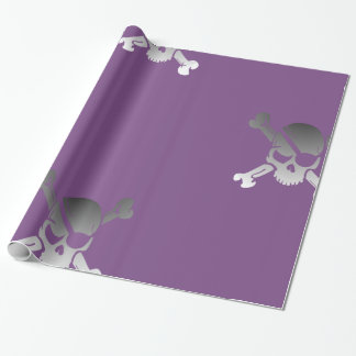 Funky Pirate Skull on Purple Wrapping Paper