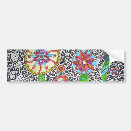 Funky Plants Watercolor Mosaic Bumper Sticker