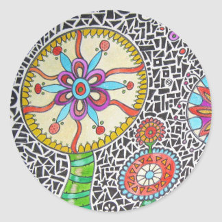 Funky Plants Watercolor Mosaic Round Sticker