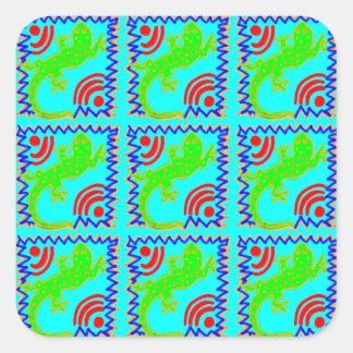 Funky Polka Dot Lizard Pattern Animal Designs Square Sticker