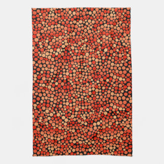 Funky Polka Dot Pattern in Red, Orange and Yellow Tea Towel