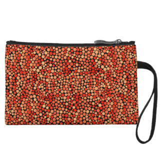Funky Polka Dot Pattern in Red, Orange and Yellow Wristlet Purses