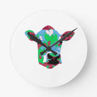 Funky Pop Art Cow Round Clock