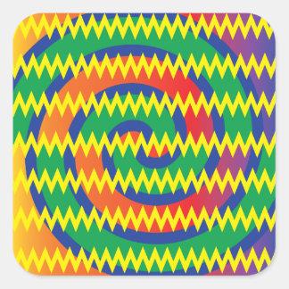 Funky Primary Colors Swirls Chevron ZigZags Design Square Sticker