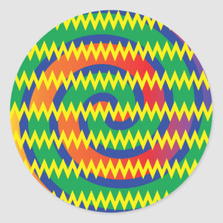 Funky Primary Colors Swirls Chevron ZigZags Design Round Sticker