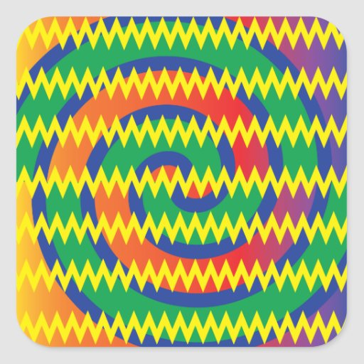 Funky Primary Colors Swirls Chevron ZigZags Design Square Stickers