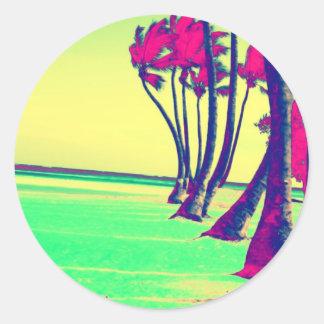 funky psychedelic beach design round sticker