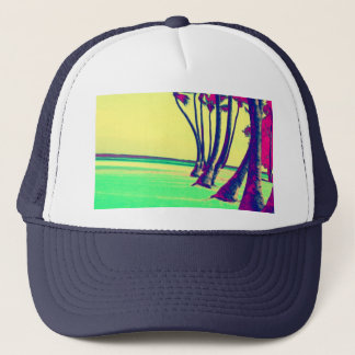 funky psychedelic beach design trucker hat