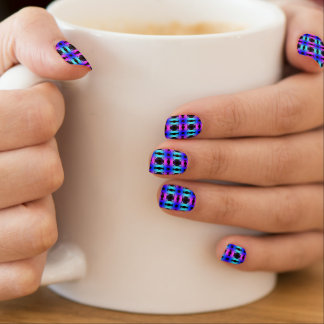 Funky Psychedelic Checkerboard Pattern Minx Nail Art