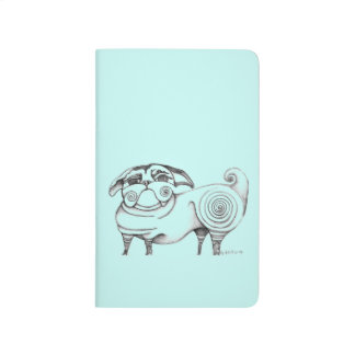 Funky Pug Sketch Pocket Journal - Aqua