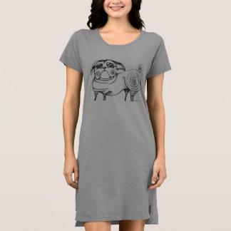 Funky Pug Sketch T-Shirt Dress - Grey