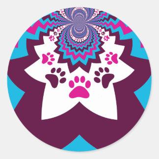 Funky Puppy Dog Paw Prints Purple Teal ZigZags Round Sticker