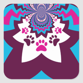 Funky Puppy Dog Paw Prints Purple Teal ZigZags Stickers