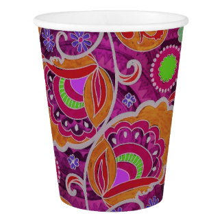 Funky Purple Abstract Retro Paisley Pattern Paper Cup