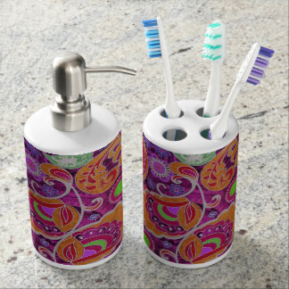 Funky Purple Abstract Retro Paisley Pattern Soap Dispenser And Toothbrush Holder