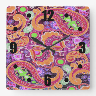 Funky Purple Abstract Retro Paisley Pattern Square Wall Clock