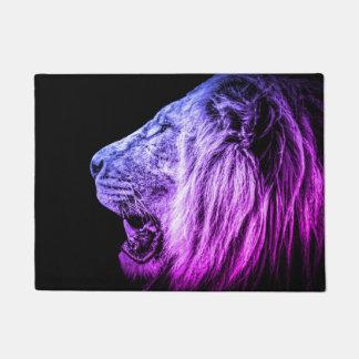 Funky Purple Blue Lion on Black Doormat