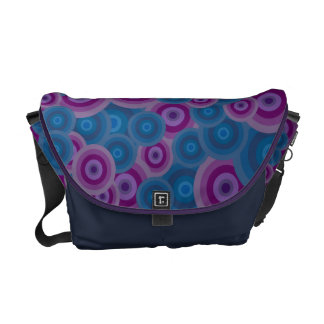 Funky Purple & Blue Retro Circles Commuter Bag