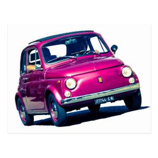 Funky Purple Fiat 500 Cinquecento in Italy Postcard